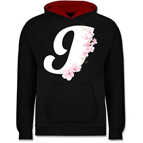 Shirtracer Anfangsbuchstaben Kind - Buchstabe I mit Kirschblüten - 7-8 Jahre (128) - Schwarz/Rot - JH003K - Kinder Kontrast Hoodie - Sakura Womens Jersey