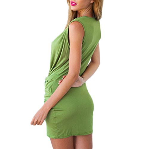 Frauen Mode V-Ausschnitt Mädchen Wickeloptik Nachtclub Kleidung Minikleid Pullikleid Partykleider Etuikleider Abschlusskleid Kleid Grün