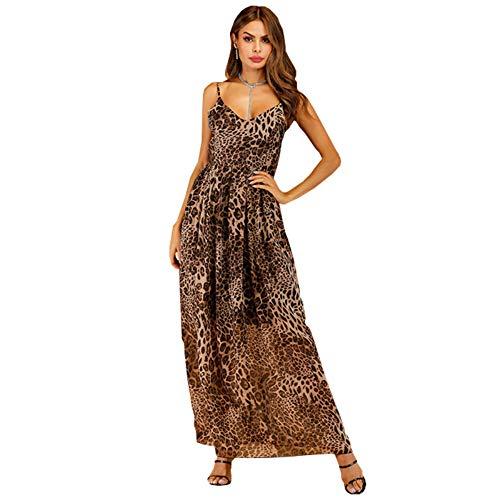 Robe d'été léopard à col en V Avec plis Pour un Look Moderne