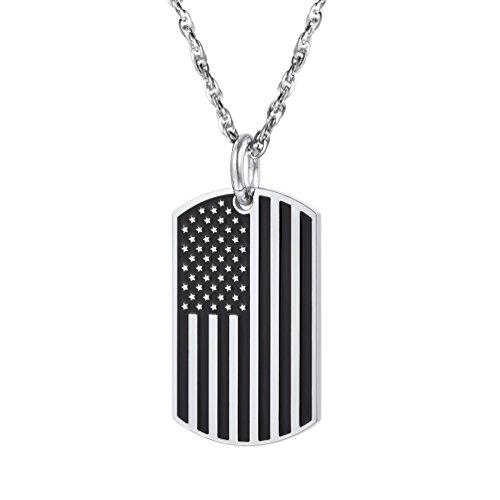 PROSTEEL Staatsflagge Design Anhänger Halskette Fahne Flagge USA Erkennungsmarke Dog Tag mit Kette Edelstahl Schmuck für Herren, Silber