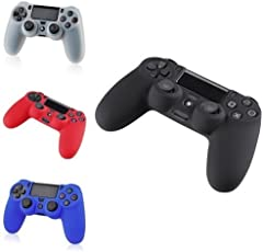 Pack of 4 Color Combo Flexible Silicone Protective Skin for Sony Ps4 Game Controller - Black+red+Blue+White