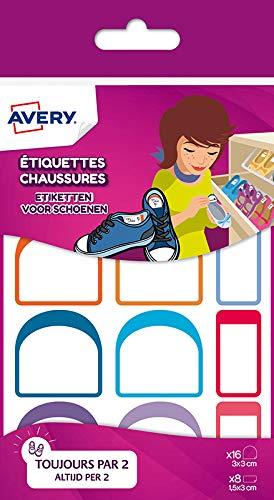 Avery CHAUS12 Etiketten für Schuhe, 3 x 3/3 x 1,5 cm, 12 Paar -