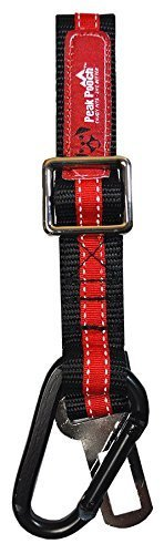 Peak Pooch - Pet Dog Cat Heavy Duty Car Vehicle Seatbelt, Adjustable Tether Restraint, Safety Clip Harness, Lead Leash Secure Seat Belt Strap Attachment, Caribiner Connector - Trim: Red by Peak Pooch