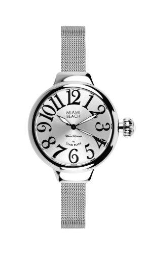 Glam Rock 0.96.3062 - Reloj para mujer, correa de acero inoxidable color plateado