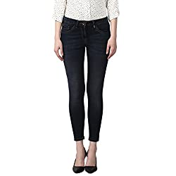 Park Avenue Woman Dark Blue Skinny Fit Cotton Blend Jeans