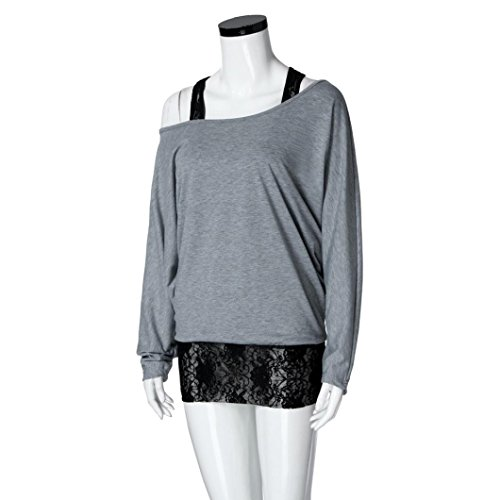 Sexyville Femmes Mode Dentelle Gilet Blouse Couture Oblique Col Bat À Manches Longues Tops Gris