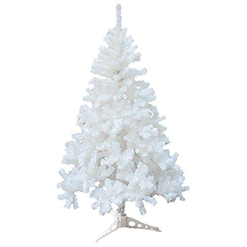 huigou HG® 120cm Weiß Weihnachtsbaum Tannenbaum Tanne Zweige Dekobaum mit Metallständer Natur schwer entflammbar sehr schneller Aufbau mit Klappsystem Premium Spritzguss Qualität