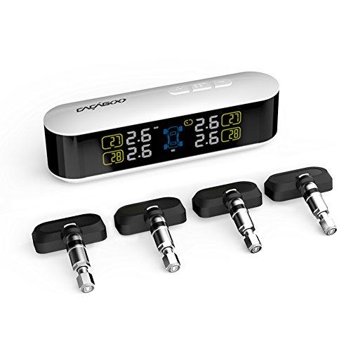 Cacagoo tpms sistema monitor pressione pneumatico da auto funzione di allarme con display lcd 4 sensori interni bianco
