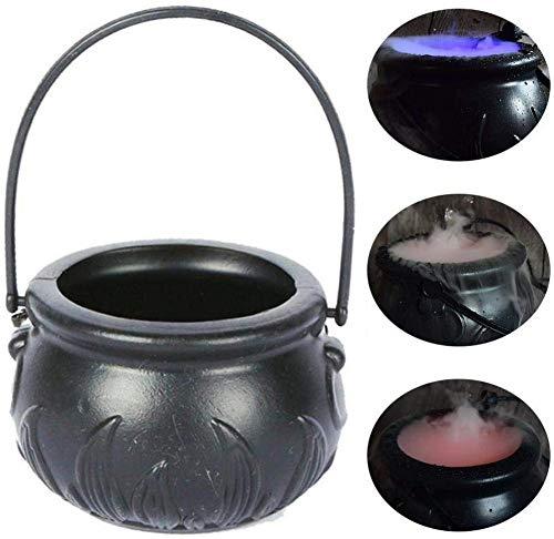 globalqi Halloween-Nebel-Hersteller Wassernebelmaschine, Hexe Magie Jar Nebel Maker Beschlagen Kessel mit 12 LED Farbwechsel Halloween-Party-Prop, Haus Patio Dekoration