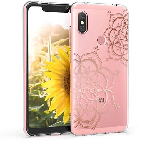 kwmobile Funda para Xiaomi Redmi Note 6 Pro - Carcasa Protectora de TPU con diseño de Flor Pintada en Oro Rosa/Transparente