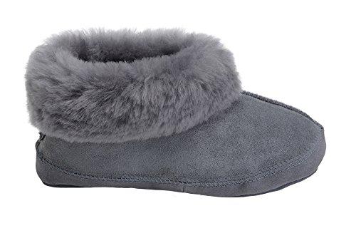 Hommes Femmes Luxe Peau De Mouton Pantoufles Chaussons Chaussures Avec Double Chaud Laine Manchette Gris