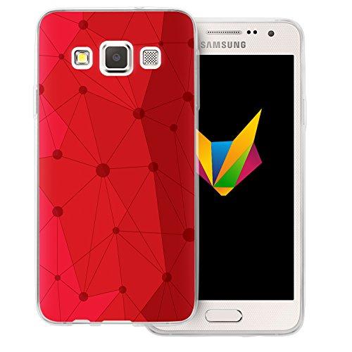 Mobilefox Grafik transparente Silikon TPU Schutzhülle 0,7mm dünne Handy Soft Case für Samsung Galaxy A3 (2014-2015) Grafik Atomium Rot - Cover Hülle