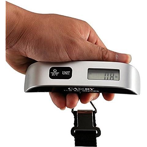 Camry Bascula Digital de Equipaje 50kg,Sensor de Temperatura, Pantalla LCD, Función de Tara, Batería