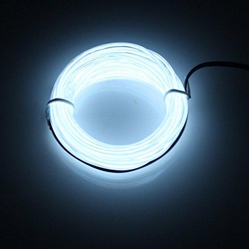 LERWAY 3M Blanc Fil Neon LED Flexible Lumière EL Wire Lumineux Lumineuse pour Fete Decoration Noël Exterieure Eclairage Velo Bar Deco Cuisine Décoration extérieure maison chambre