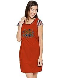 So Sweety Women's Cotton Night Sleepwear Winter T Shirt Red Dress