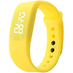 Familizo Unisex Rubber Silicone LED Watches Date Sports Bracelet Digital Wrist Watch Yellow