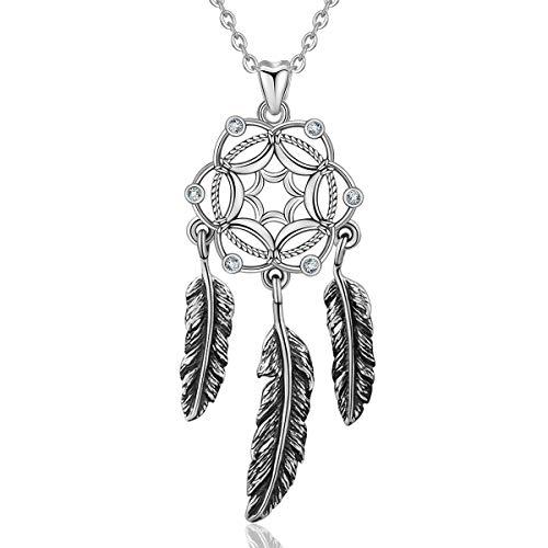 CELESTIA Traumfänger Halsketten für Frauen, 925 Sterling Silber Feder Anhänger Ethnische Halskette Rolo Kette 46 CM, Schmuck Geschenke für Mädchen