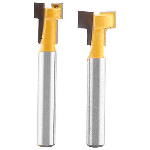 2 Stücke Fräser Schaft Cutter Router Bit 1/4 '' Gelb T-Slot Stahl Griff 3/8