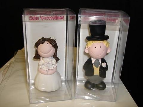 BRIDE & GROOM CAKE TOP BRIDE 8CM GROOM 10.5CM