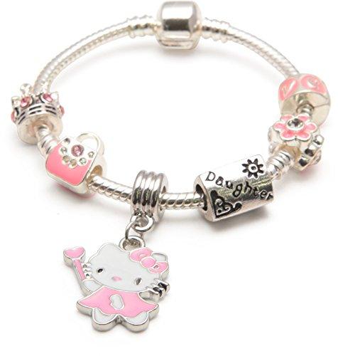 'Bling Rocks Personalisiertes Tochter Kinder Pink Hello Kitty Glamour' silber PANDORA STYLE Charm/Perlen Armband. Mädchen Geburtstag/Geschenk (weitere Größen erhältlich) (Personalisierte Kitty Geschenke Hello)