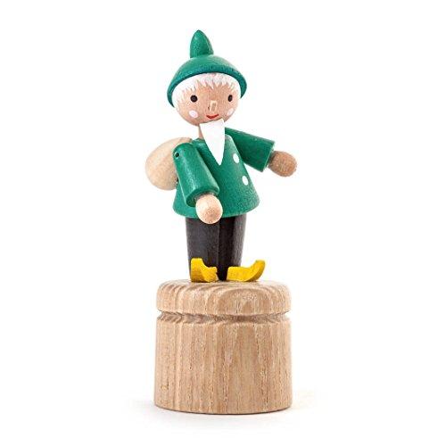 """DREGENO Wackeltier, Wackelfigur """"Sandmann"""" aus Holz, Geschenk für Kinder, von DREGENO SEIFFEN 8 cm - Original erzgebirgische Handarbeit"""