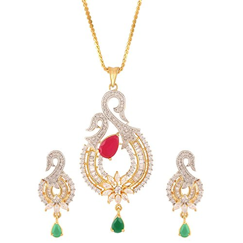 swasti-jewels-womens-american-diamond-peacock-cz-zircon-fashion-jewellery-set-pendant-earrings-multi