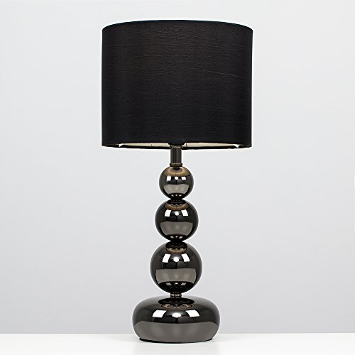 Moderna Lámpara de Mesa Tactil Marissa MiniSun con Base en Columna de Esferas en Cromo Negro y Pantalla Negra Estilo Seda