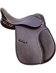 """Silla de montar para uso general, sintética, diseño ancho, 18"""", color marrón"""
