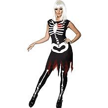 Smiffy's Costume donna scheletro ossa luminoso Halloween travestimento fluorescente