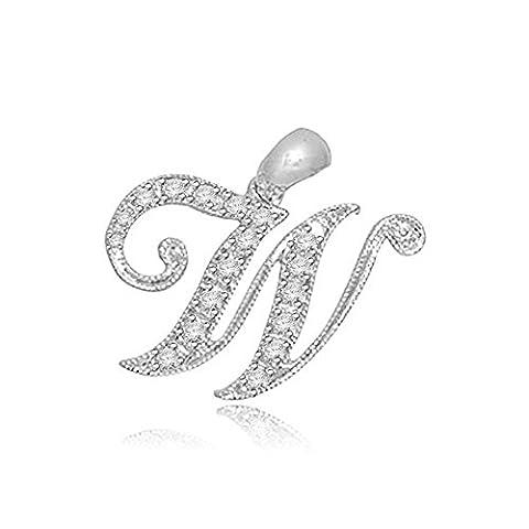 0.05ct F/VS1 W' Buchstabe Diamant Anhänger für Damen mit runden Brillantschliff diamanten in 18kt (750) Weißgold ohne (Marienkäfer-kostüm Bilder)
