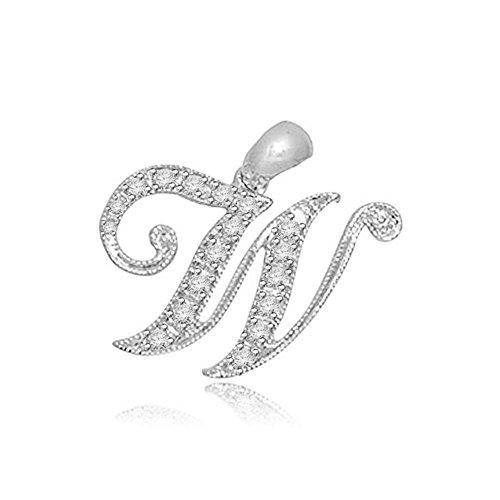 0.05ct F/VS1 W' Buchstabe Diamant Anhänger für Damen mit runden Brillantschliff diamanten in 18kt (750) Weißgold mit (F Kostüme Buchstabe)