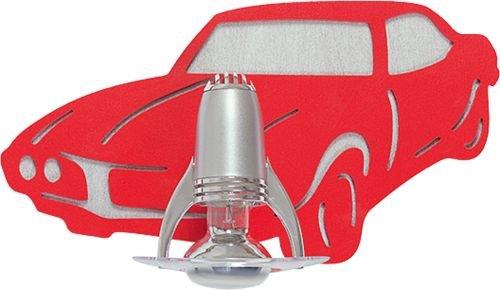 Coole Kinderleuchte in Rot E14 bis 40 Watt 230V Wandleuchte Kinder aus Sperrholz Kunststoff & Metall mit Fahrzeug Motiv Kinderlampe für Schlafzimmer Kinderzimmer Lampe Leuchten innen
