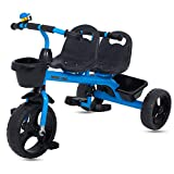 #5: Baybee 2 in 1 Twinker Bell Baby Tricycle Safety Double Seat with Basket - Blue