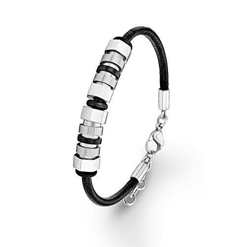 s. Oliver Herren-Armband Lederarmband Edelstahl Leder 21 cm