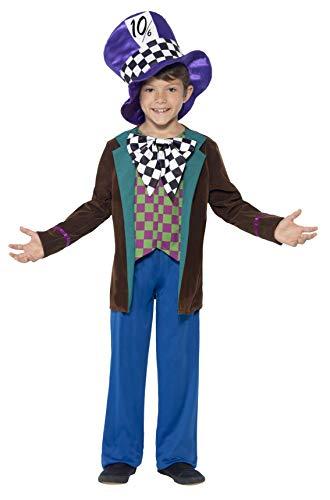 Smiffys Kinder Deluxe Hatter Kostüm, Jackett, Hose und Hut, Größe: M, ()
