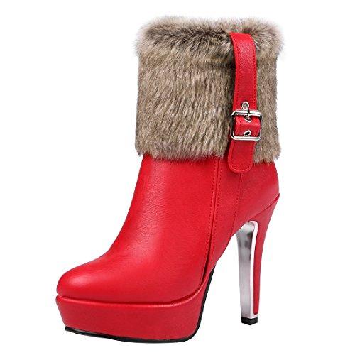 UH Femmes Chaussures Bottes avec Fourrure et Boucle Motard à Cuissarde Talons Haut Aiguilles avec Plateforme Fermeture Eclair Chaud Rouge