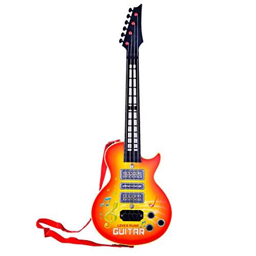 iVansa Guitare électronique pour Enfants, 4 Cordes Musique Guitare Lumineuse Clignotante avec Bouton pour Effets Sonores mélodies Cadeau de Noël pour Enfant à partir de 3 Ans