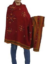 Handmade Tribal Shawl Wrap For Women - Designer Pure Wool Wrap for Ladies Maroon