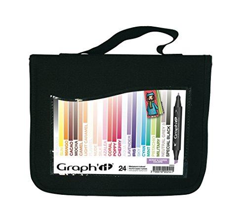 Graph'it Lot de 24 Marqueurs à alcool double pointe Scrap & cards colors