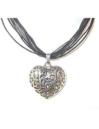 Corazón de Baviera plata envejecida de color negro y cinta de organza