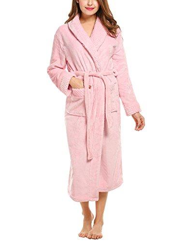 HOTOUCH Damen Bademantel Lang Morgenmantel Saunamantel Soft Fleece Nachtwäsche Robe Mit Gürtel,Typ1-Rosa,S (Fleece Robe Rosa)