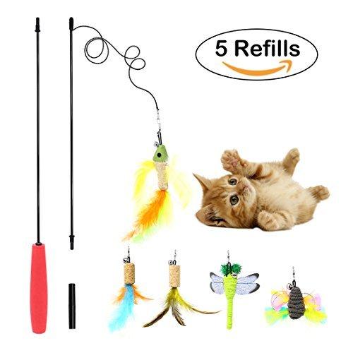 Tacobear Katze Spielzeug Interaktive Feder Teaser Stab Spielzeug Set mit 5 Nachfüllfedern Vogel Libelle Catcher für Katzen Kitten