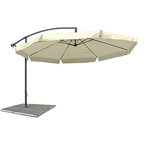 Ampelschirm, Sonnenschirm mit 300 cm Durchmesser in beige, Material Polyester