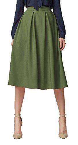 Urban GoCo Mujeres Vintage Falda Midi Plisada A-Line con Bolsillos Faldas Larga Ejercito Verde M