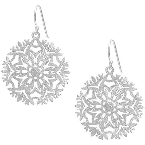 Silverly Pendientes Mujeres En Plata De Ley .925 Afiligranado Copo Nieve Helada Invierno Colgantes