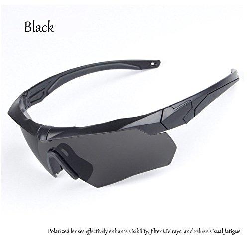 Reitbrille Taktische Schutzbrille Outdoor Sport Drei Linsen Mit Myopie-Rahmen, black