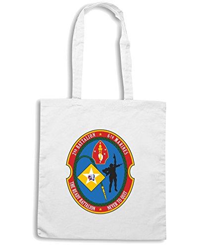 T-Shirtshock - Borsa Shopping TM0321 2nd Battalion 6th Marine Regiment USMC usa Bianco