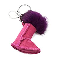 Oh My Shop PT1779E - Suede Effect Boot Keyring/Bag Charm with Purple Tassel
