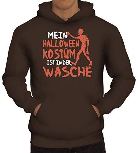 ShirtStreet Grusel Gruppen Herren Hoodie Männer Kapuzenpullover Zombie - Mein Halloween Kostüm, Größe: M,braun