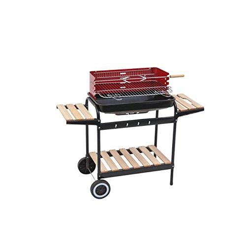 Barbecue grill a carbonella rettangolare metallo ripiani in legno 105x45x85cm paravento ruote giardino partenope 647277